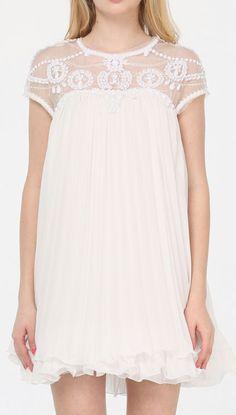 Vestido Summer Dresses For Women Sweet High Quality Novelty White Short Sleeve Round Neck Lace Pleated Chiffon Causal Sexy Dress Chiffon Dress, Dress Skirt, Lace Dress, Dress Up, White Dress, Lace Chiffon, White Lace, Vestido Baby Doll, Dress Picture
