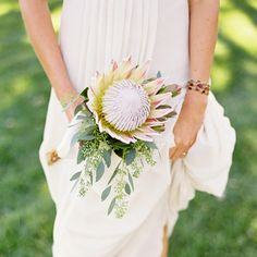 Gorgeous single bloom bouquet (image via Jose Villa) Bride Flowers, Bride Bouquets, Wedding Flowers, Protea Bouquet, Hand Bouquet, Protea Wedding, Bouquet Images, Wedding Designs, Wedding Ideas