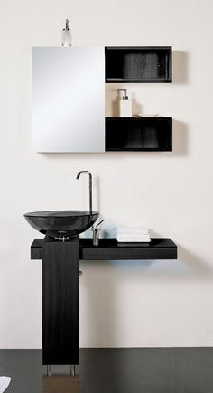 Modern Minimalist Black and White Bathroom Vanity With Shinny Black Vessel Sink