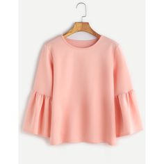 SheIn(sheinside) Pink Round Neck Bell Sleeve Blouse (885 INR) ❤ liked on Polyvore featuring tops, blouses, pink, round neck blouse, red blouse, red top, round neck top and pink blouse