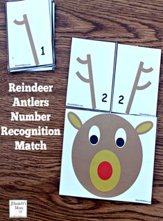 Your children will have fun matching reindeer antlers. Each printable pair of reindeer antlers has the same number of points and displays that numbers. Christmas Activities For Toddlers, Printable Activities For Kids, Preschool Learning Activities, Holiday Activities, Preschool Ideas, Holiday Games, Counting Activities, Kindergarten Math, Preschool Crafts