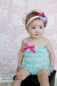 lace petti romper with a bow - this color combo is gorgeous.