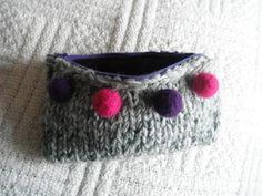 knitted purse with felted balls