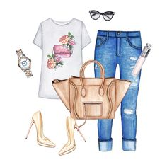 Stylish outfit. Doll Memories graphic tee, blue jeans, nude Louboutin pumps, neutral Celine bag, cool watch and sunglasses