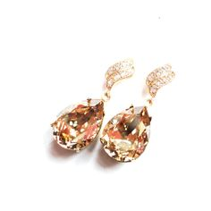 SALE was 34.99 Crystal Golden Shadow Swarovski Crystal Estate Earrings with 925 Sterling Silver Plated Flame Wave Earring Posts with CZ Stones by ParisOhLaLa, $29.99