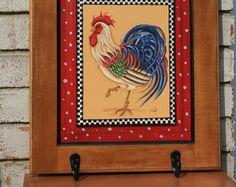 Country Rooster Hand painted towel rack on repurposed cabinet door.