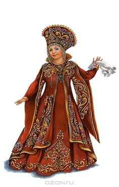 """Russian traditional costume, stylization for the stage. A postcard from the set """"Russian Stage Costume"""", Russian Folk, Russian Art, Folk Costume, Costumes, Russian Culture, Russian Orthodox, Halloween Disfraces, Russian Fashion, Historical Clothing"""