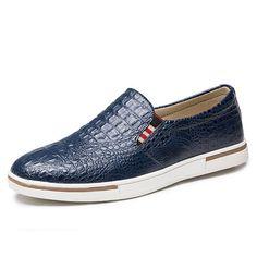 Men Genuine Leather Pattern Slip On Elastic Band Sneakers - Banggood Mobile