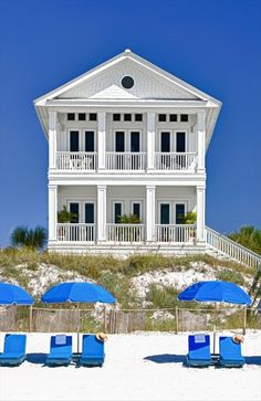 White beach house blue accents