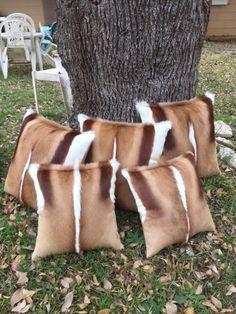 Springbok pillows made from springbok skins from cowhidesusa.com