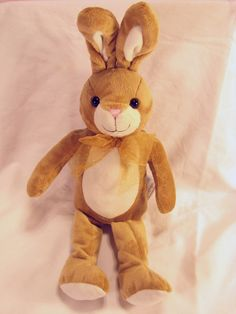 Easter Plush Bunny Okie Dokie Brown White Pink Nose 18 Inches  Stuffed Lovey Toy #Wondertreats