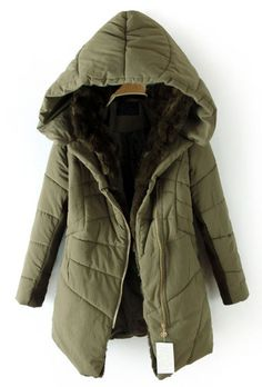 Dark Green Hooded Contrast Fur Lined Irregular Stitch Padded Coat