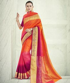 Buy Orange Banarasi Silk Saree With Blouse 71246 with blouse online at lowest price from vast collection of sarees at Indianclothstore.com.
