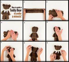 Turn a towel or rag into a teddy bear - Baby Diy - Make a teddy bear out of a towel or rag Informations About Machen Sie aus einem Handtuch oder Lappen - Towel Origami, Diy Origami, Origami Hand, Oragami, Towel Animals, Baby Animals, Baby Hamper, Towel Cakes, Diy Bebe
