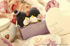 love Penguins wedding cake topper