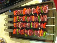Steak and veggie skewers on the grill!