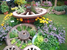 A lovely herb planting in cart wheels.