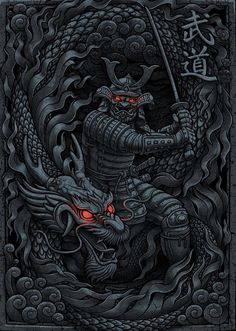'Dragon Samurai' by Dragon Samurai, Ronin Samurai, Samurai Warrior, Dragon Warrior, Tattoo Mascara, Samurai Mask Tattoo, Ronin Tattoo, Samourai Tattoo, Samurai Wallpaper