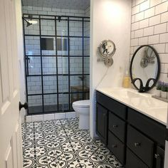 Modern Farmhouse, Rustic Modern, Classic, light and airy master bathroom design ideas. Bathroom makeover suggestions and master bathroom renovation ideas. Bathroom Layout, Bathroom Interior, Bathroom Storage, Bathroom Organization, Tile Layout, Bathroom Goals, Bathroom Styling, Floor Layout, Bad Inspiration
