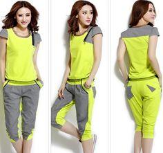 2014 Sport Set Summer Women Sportswear O-neck Short Sleeve Hoodies+ Shorts Cotton Sweatshirt Tracksuits Pullovers Sports Suit  US $25.60