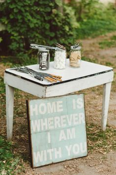 S'more Station for Outdoor Weddings! - I really just love the wording on the board