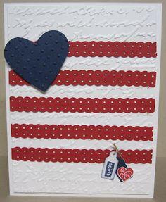 4th of July card using ribbon punch