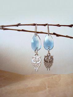 Cute Owl Earrings with Swarovski Crystals Bird by BijuBrill