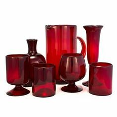 Crimson Red Recycled Glassware Collection
