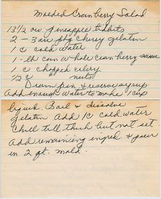 Looks like grandma's handwriting almost.With pineapple, celery, and nuts. From a box sold in East Moline, Illinois. cherry gelatin 1 c. can whole cranber. Jello Desserts, Jello Salads, Dessert Salads, Appetizer Salads, Fruit Salads, Healthy Salads, Appetizers, Retro Recipes, Old Recipes