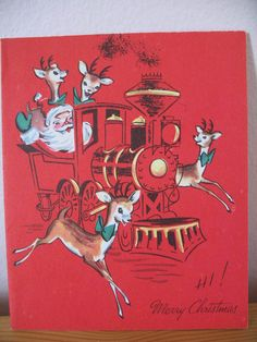 Santa & Reindeer in Train, 1940's Vintage Christmas Greeting Card