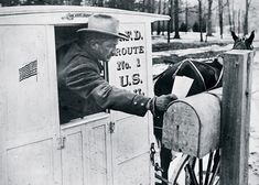 Rural carrier, 1908 Rural carrier delivers mail on Rural Route #1 out of the Milwaukee, Wisconsin, Post Office in 1908. Beginning in 1902, rural customers were required to use standardized mailboxes. Before then, everything from lard pails and syrup cans to old apple, soap, and cigar boxes served as mailboxes.