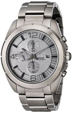 Seiko Solar SSC235 Men's Watch All Grey Stainless Steel Chronograph