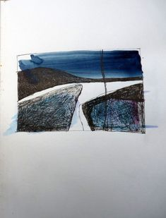 Sketchbook Sketchbook drawing by Debbie Lyddon - Textile artist Debbie Lyddon makes non-representational objects, installations and wall hung pieces that are informed by the natural environment. Landscape Art, Landscape Paintings, Abstract Watercolor, Abstract Art, Artist Sketchbook, Sketchbook Drawings, Sketching, Sketchbook Inspiration, Love Drawings