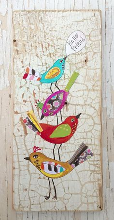 Hello Birds Folk Home Decor Whimsical on Etsy, $52.00