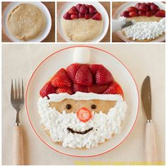 Santa Clause Pancakes...a fun Christmas Breakfast for the kids!