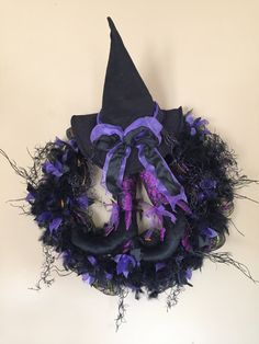 Purple/Black/Witch Hat and Legs Wreath/Sale/Ready to ship/Feathers/Ribbon/Lights up/Lit/Front Door/Wall Hanger by TheHenandChickCrafts on Etsy