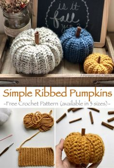 Simple Ribbed Pumpkins- Free crochet pattern in small, medium and large. By A Purpose and A Stitch : Simple Ribbed Pumpkins- Free crochet pattern in small, medium and large. By A Purpose and A Stitch Crochet Gratis, Cute Crochet, Beautiful Crochet, Easy Crochet, Crotchet, Autumn Crochet, Crochet Fall Decor, Small Crochet Gifts, Thanksgiving Crochet