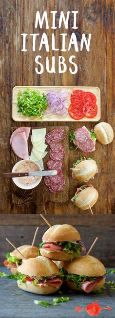 Layer vinegary peppers, herbed mayo and traditional Italian meats and cheeses for these mini Italian subs.