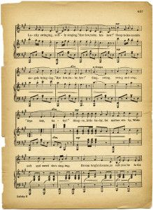 lullaby sheet music, vintage lullaby, margaret tuggle, shabby aged paper, free digital sheet music