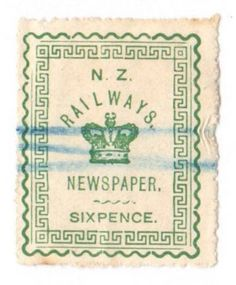 NEW ZEALAND 1890 Railway Newspapers 6d Green. Nice cancel. - 39161 - FU - NZ Fiscals Railway Charges - New Zealand Stamps - NEW ZEALAND - EASTAMPS