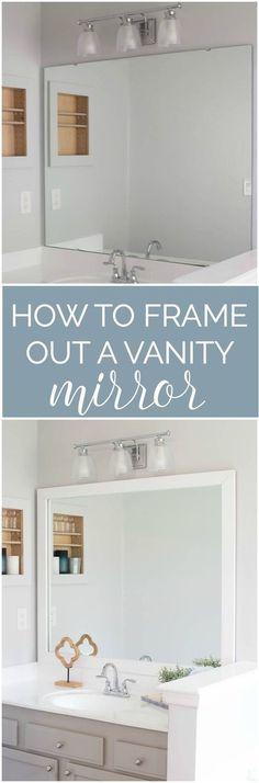 Framing A Large Bathroom Mirror diy bathroom mirror frame for under $10 | blue wood stain, diy