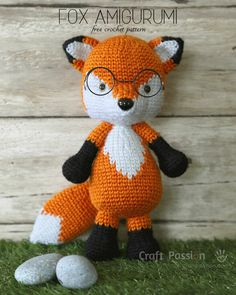 Free crochet pattern of Mr. Furu, orange fox amigurumi who loves to wear a pair of wired glasses. It's 10 tall, crochet from hook in colorwork. Free crochet pattern of Mr. Furu, orange fox amigurumi who loves to wear a pair of wired glasses. Crochet Fox Pattern Free, Crochet Amigurumi Free Patterns, Crochet Animal Patterns, Stuffed Animal Patterns, Cute Crochet, Crochet Crafts, Crochet Dolls, Crochet Projects, Fox Amigurumi Pattern