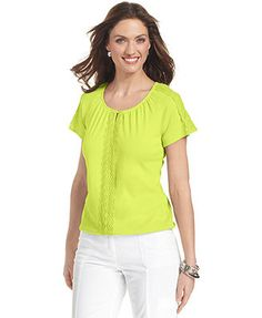 Karen Scott Petite Short-Sleeve Pleated Crochet Top, I have this in calypso coral, very comfortable