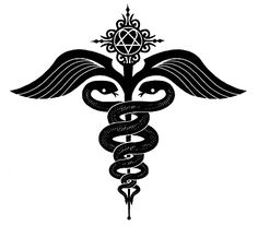 Caduceus is a figure of two serpents wrapped around a center rod. The rod is a symbol of transforming alchemical power. The two serpents represent polarity or duality. Together with the sprouted wings depict the caduceus having an alchemical meaning of balance, duality and following the alchemical process leading to unity . The caduceus is also seen in medical circles .