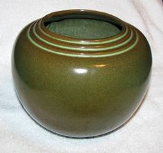 Frankoma's Round Jar #24, produced 1934-49. Depending on the year this item was produced, this is called either the Bronze Green or Patina glaze.