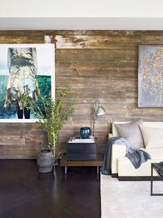 gorgeous reclaimed wood wall... Randy wants to do this with pallet wood at the end of the month
