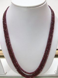 """Long 26/"""" 2x4mm Rose Ruby Faceted Roundel Gems Beads Necklace Silver Clasp AAA"""