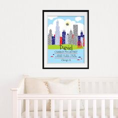 Boston baby boston skyline print personalized baby gift nursery chicago baby chicago skyline wall art baby names baby name art birth stats printable nursery wall art personalized baby gift negle Images