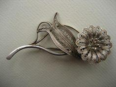 broszka srebrna, filigran