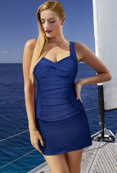 998d96fabd Tropiculture New Blue Twist-Front Slit Skirtini Plus Size Swimwear